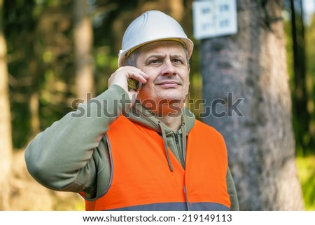 Lumberjack with cell phone near marked tree in forest - stock photo