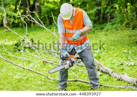 Lumberjack with chainsaw near big tree branch - stock photo