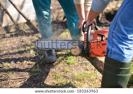 Lumberjack working with chainsaw, cutting wood. Selective focus - stock photo