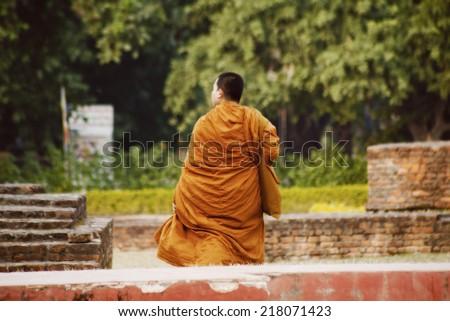 LUMBINI, NEPAL - NOVEMBER 15 : Pilgrims visit the birthplace of Buddha during Buddha Jayanti , young  monk prayer, on November 15, 2013 in Lumbini, Nepal.  - stock photo