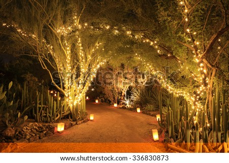 Luminarias and Christmas lights decorate a Southwestern garden at night. - stock photo