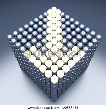 Luminescent arrow from metallic balls - stock photo