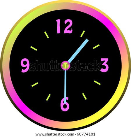 Luminous clock  face with colorful case illustration - stock photo