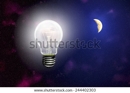 Luminous light on the background of the sky with a bright moon - stock photo
