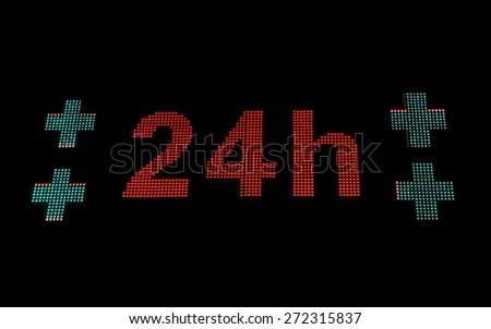 Luminous sign of Pharmacy - Bright night pharmacy sign on. With the message open 24 hours a day between junctions  - stock photo