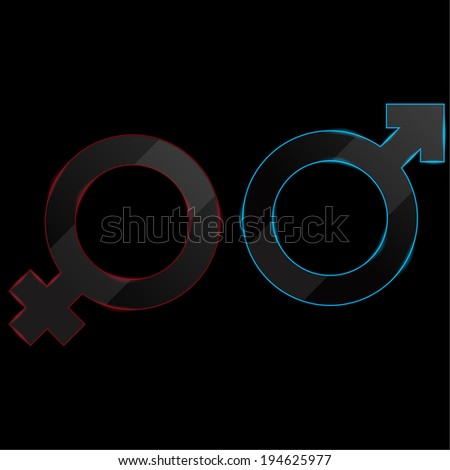 Luminous sign of the feminine and masculine beginning on a black background. Icon with empty space can be used for magazines, brochures, Internet websites. raster version - stock photo