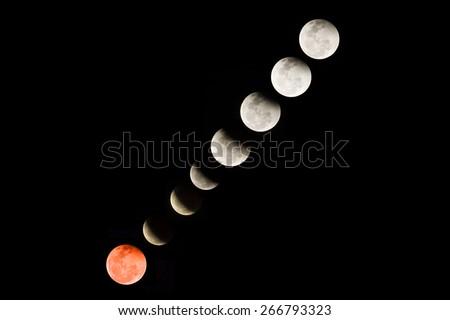 Lunar eclipse on 4 april 2015 - stock photo