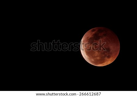lunar eclipse red blood moon - stock photo