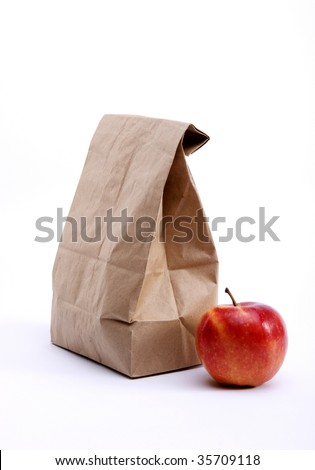 Lunch Bag With Apple - stock photo