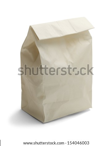 Lunch Bag with Copy Space Isolated on White Background. - stock photo