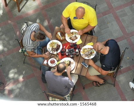 lunch in street cafe - stock photo