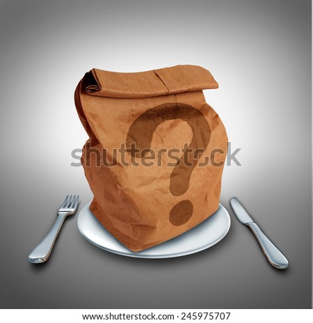 Lunch questions nutrition and dieting concept as a brown bag on a dinner plate with a fork and knife with a question mark as a symbol for choosing your meal. - stock photo