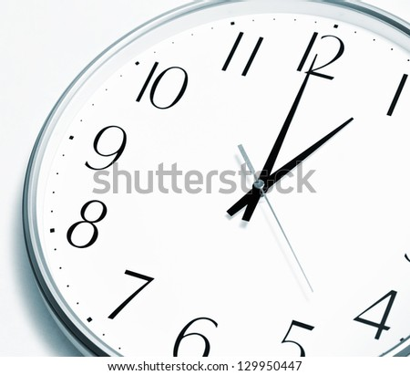 Lunch time. Clock showing a lunch break. High quality image. - stock photo