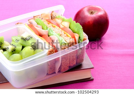 Lunchbox with book and apple on pink background - stock photo