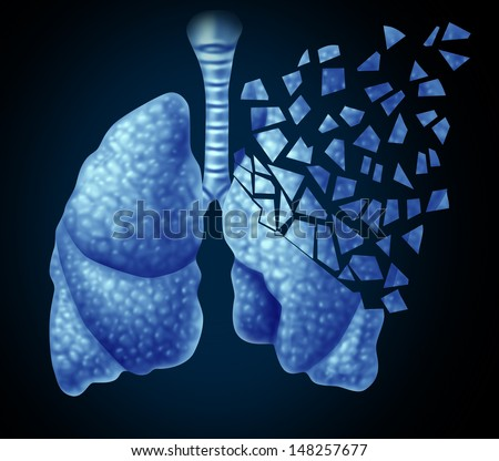 Lung illness and losing human lungs health care concept as a decline in respiratory function caused by cancer or disease as the organ slowly breaks down in little pieces on a black background. - stock photo