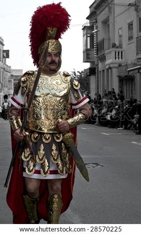 LUQA, MALTA - APR 10- Roman centurion during the Good Friday procesion in Luqa in Malta April 10, 2009 - stock photo