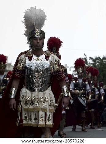 LUQA, MALTA - APR 10 - Roman centurion during the Good Friday procesion in Luqa in Malta April 10, 2009 - stock photo