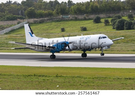 Luqa, Malta December 13, 2010: AirGo Airlines British Aerospace ATP(F) landing runway 31. - stock photo