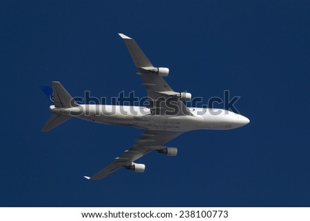 Luqa, Malta December 16, 2014: Saudi Arabian Airlines Cargo (Air Atlanta Icelandic) Boeing 747-4H6(BDSF) over the airfield after taking off from runway 31. - stock photo
