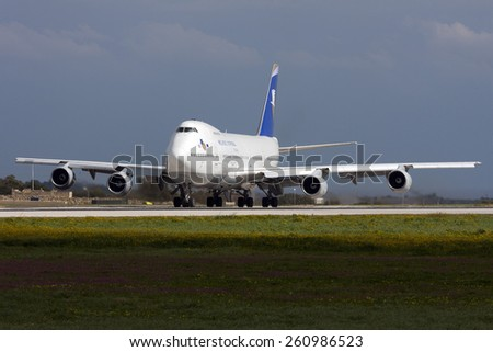 Luqa, Malta February 25, 2011: Hellenic Imperial Airways Boeing 747-230B lining up runway 31 for take off. - stock photo