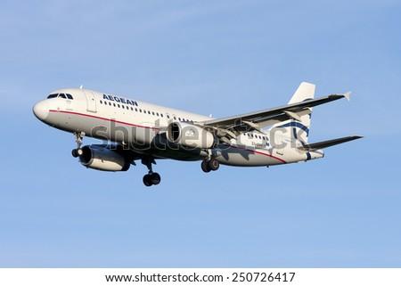 Luqa, Malta January 24, 2009: Aegean Airlines Airbus A320-232 landing in Malta for servicing at Lufhtansa Technik Malta (LTM). - stock photo