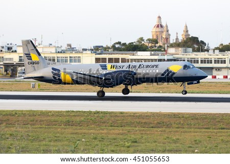 Luqa, Malta July 11, 2016: West Air Sweden British Aerospace ATP [SE-LPR] returning back to Malta after a few minutes due to technical problems. - stock photo