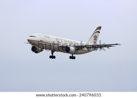 Luqa, Malta September 14, 2008: Etihad Crystal Cargo (Islandsflug) Airbus A300B4-622R(F) on finals for runway 32. - stock photo