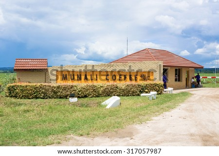 Lusaka, Zambia - April 5, 2015: Sign at the entrance to Munali coffee farm near Lusaka in Zambia. - stock photo