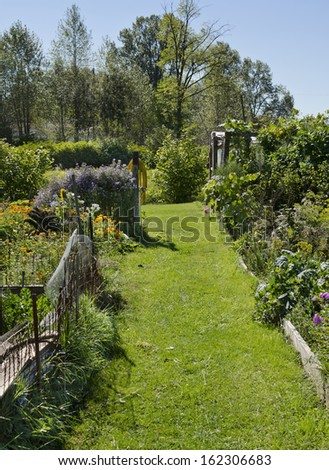 Lush green community garden in the summer.  Flowers and vegetables growing in garden plots. - stock photo