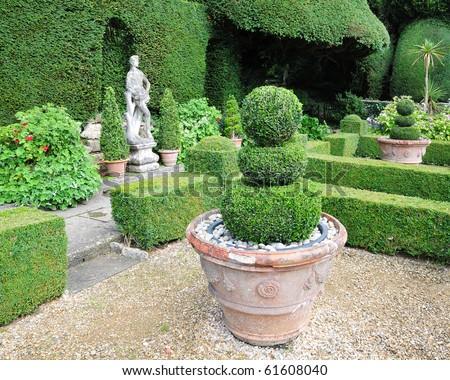 Lush Green Topiary in a Tranquil Garden - stock photo