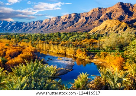 Lush oasis landscape in the Moroccan desert, with date palms and a blue river with reflections.  One of the biggest oases in Morocco. Adventure travel. - stock photo