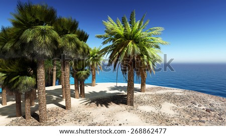 Lush oasis landscape on desert, with date palms and a blue river - stock photo