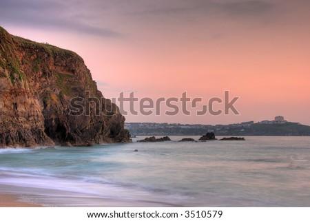 Lusty beach in Newquay, Cornwall, UK - stock photo
