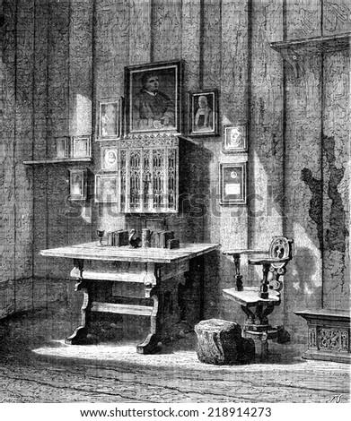 Luther's room at Wartburg,. the ink stain, vintage engraved illustration. Le Tour du Monde, Travel Journal, (1872). - stock photo
