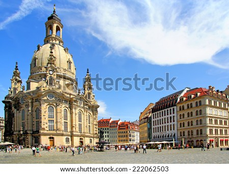 Lutheran church Dresden Frauenkirche in Dresden, Germany - stock photo
