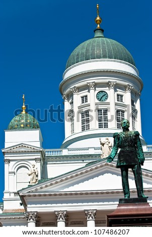 Lutheran church in the central square of the city of Helsinki. - stock photo