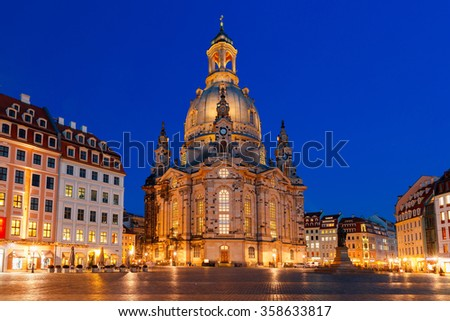 Lutheran church of Our Lady aka Frauenkirche with market place at night in Dresden, Saxony, Germany - stock photo