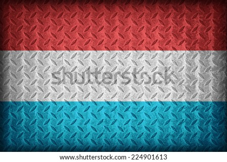 Luxemborg flag pattern on the diamond metal plate texture ,vintage style - stock photo
