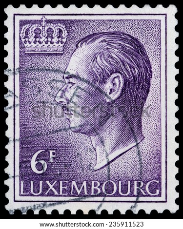 LUXEMBOURG - CIRCA 1965: A post stamp shows Portrait of Grand Duke Jean, circa 1965 - stock photo