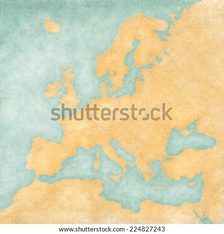 Luxembourg on the map of Europe. The Map is in vintage summer style and sunny mood. The map has a soft grunge and vintage atmosphere, which acts as watercolor painting on old paper.  - stock photo