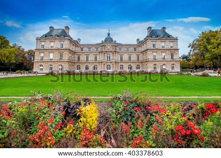 Luxembourg Palace and garden. Paris, France. Autumn beautifull day with blue sky./Luxembourg Palace and garden. Paris, France. - stock photo