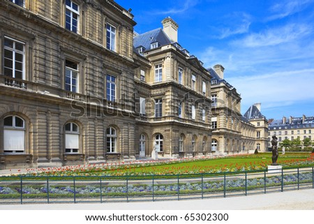Luxembourg Palace, which is the seat of French senate, Paris - stock photo