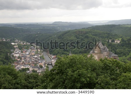 Luxembourg town of Vianden with castle on the hill - stock photo