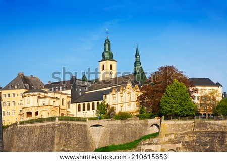 Luxemburg landmark view in sunny summer day - stock photo