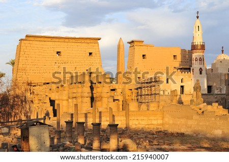 Luxor Temple at sunset. The Peristyle Court of Amenhotep III and Hypostyle Hall of Egypt. - stock photo