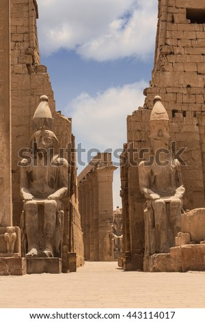 Luxor Temple Ramses statues. Statues at the Temple of Amun-Ra at Luxor. Egypt. - stock photo