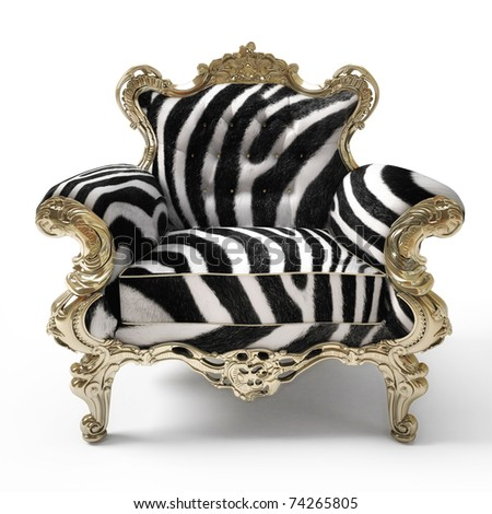 Luxurious armchair with zebra fur, isolated on white background - stock photo