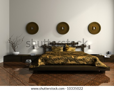 Luxurious bedroom in ethnic style 3D rendering - stock photo