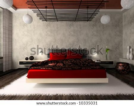 Luxurious bedroom in red 3D rendering - stock photo