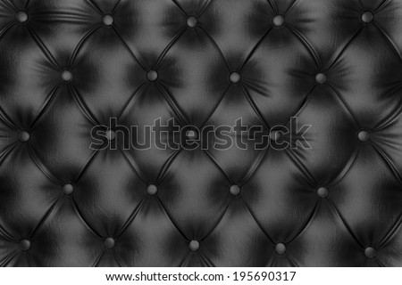 Luxurious black leather texture furniture with buttons - stock photo